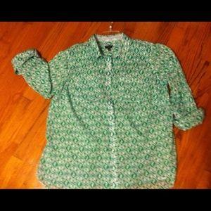 Talbots Seahorse print sz 14 shirt